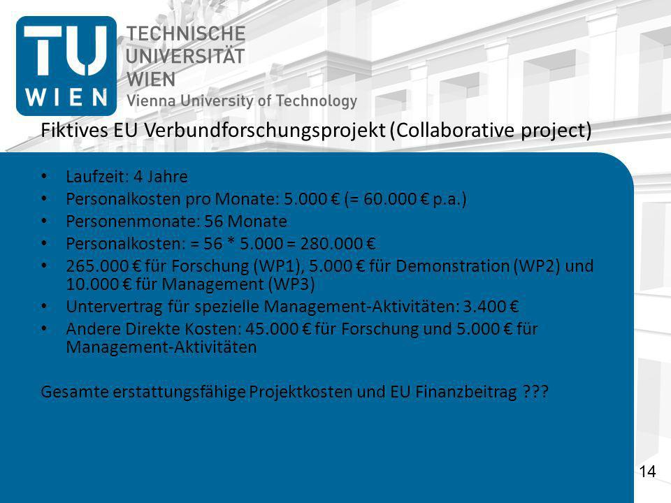 Fiktives EU Verbundforschungsprojekt (Collaborative project)