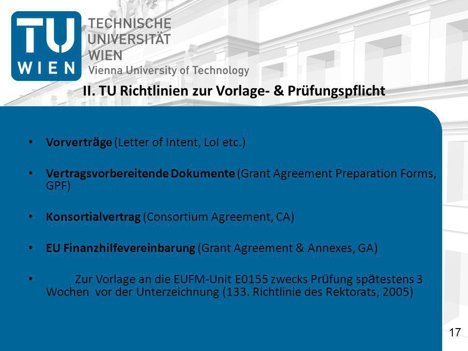 II. TU Richtlinien zur Vorlage- & Prüfungspflicht