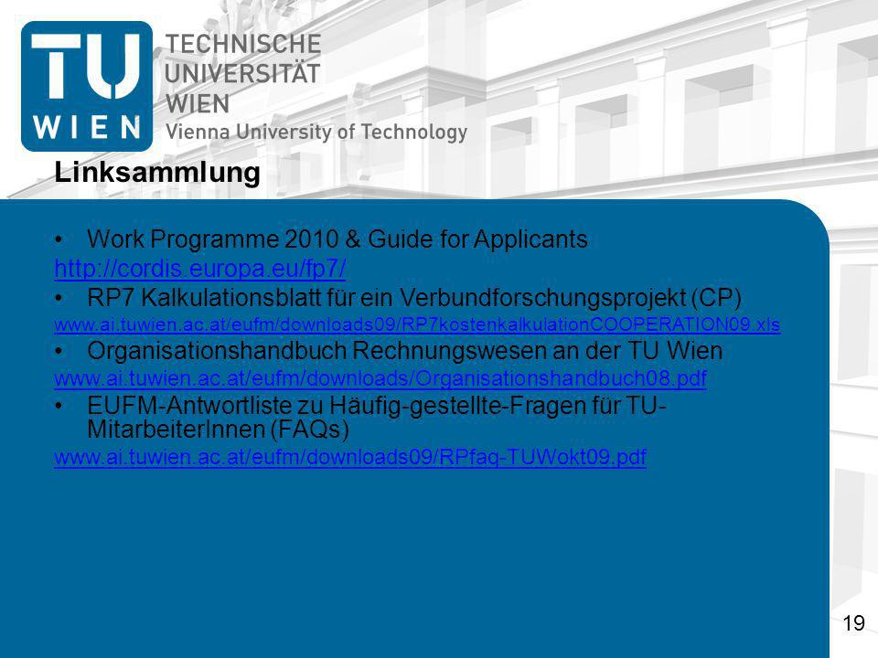 Linksammlung Work Programme 2010 & Guide for Applicants
