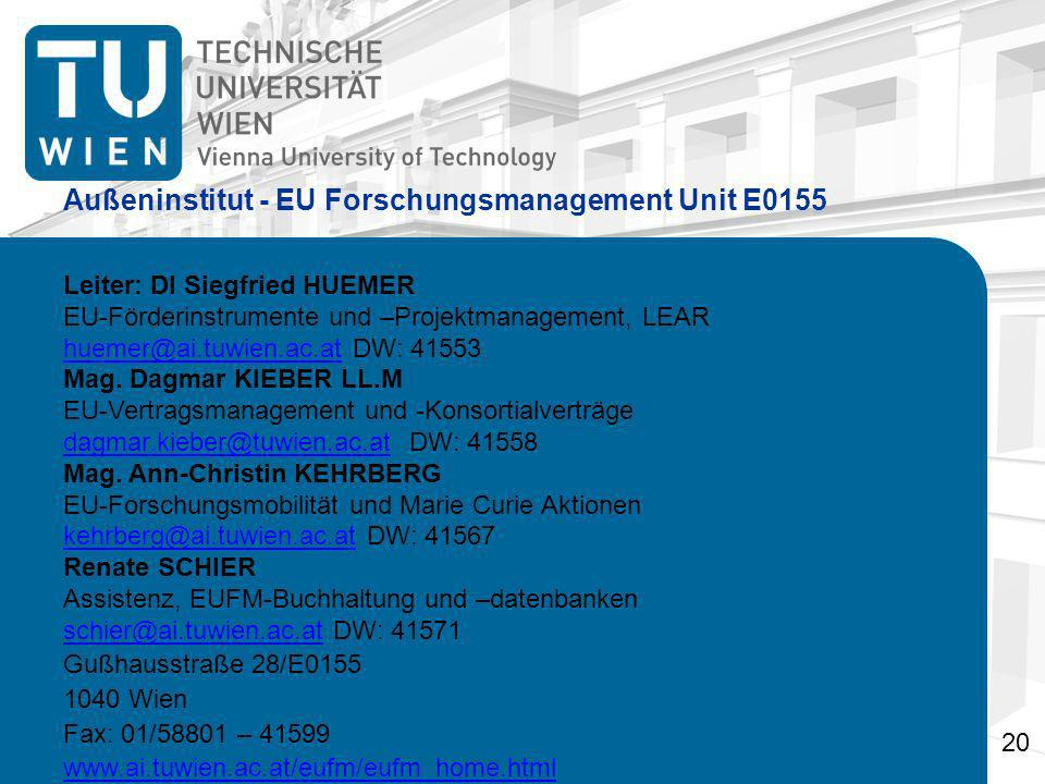 Außeninstitut - EU Forschungsmanagement Unit E0155