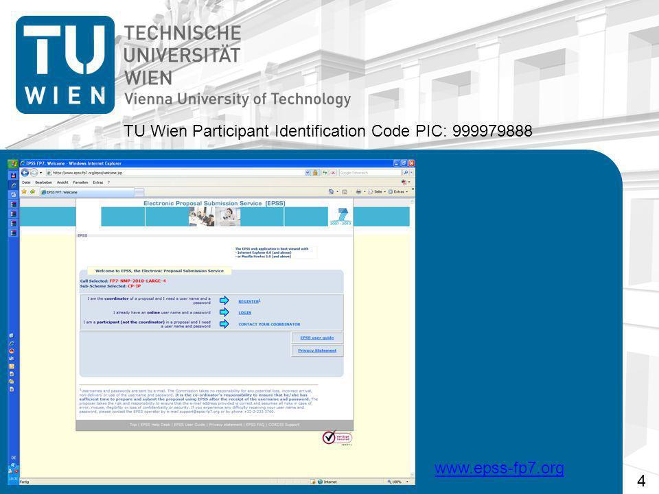 TU Wien Participant Identification Code PIC: 999979888