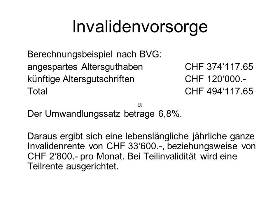 Invalidenvorsorge Berechnungsbeispiel nach BVG: