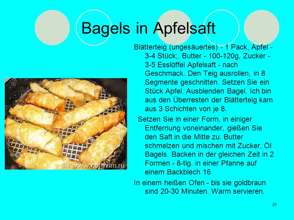 Bagels in Apfelsaft