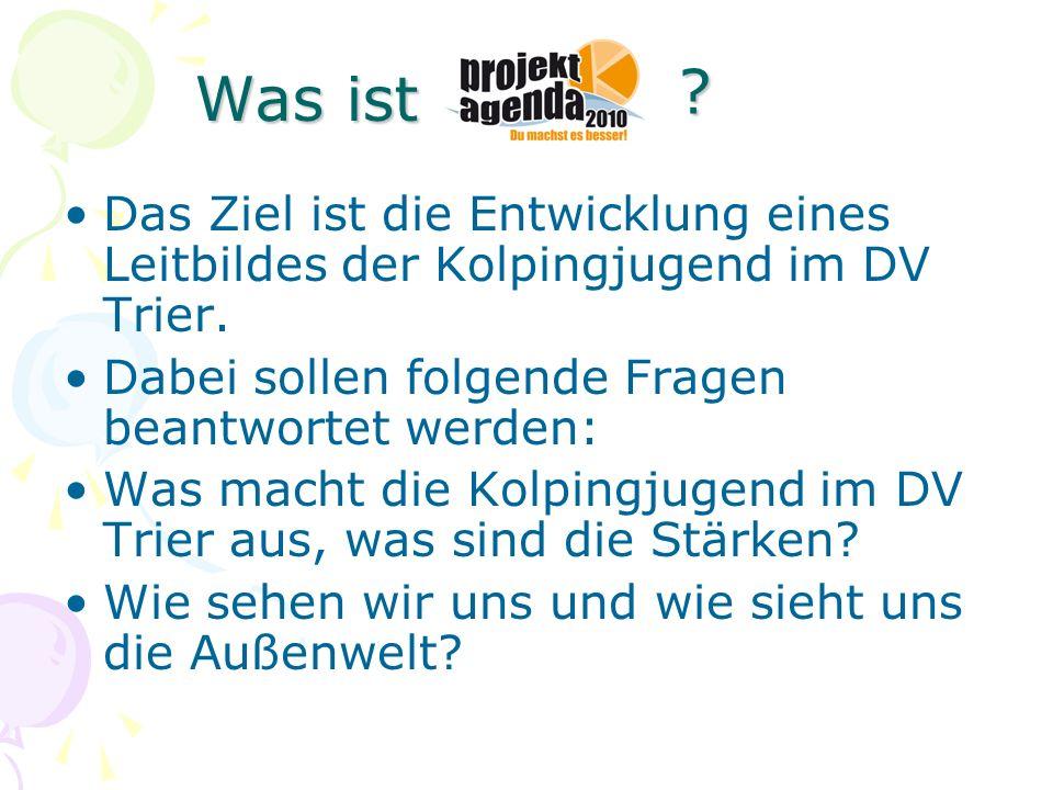 Was ist Das Ziel ist die Entwicklung eines Leitbildes der Kolpingjugend im DV Trier. Dabei sollen folgende Fragen beantwortet werden: