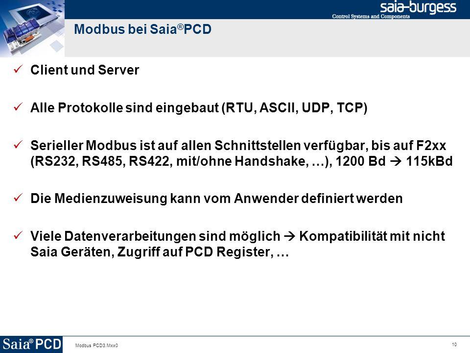Alle Protokolle sind eingebaut (RTU, ASCII, UDP, TCP)