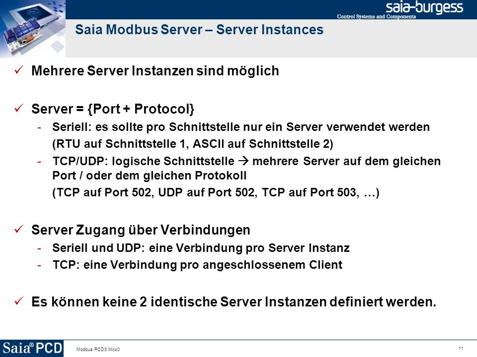 Saia Modbus Server – Server Instances