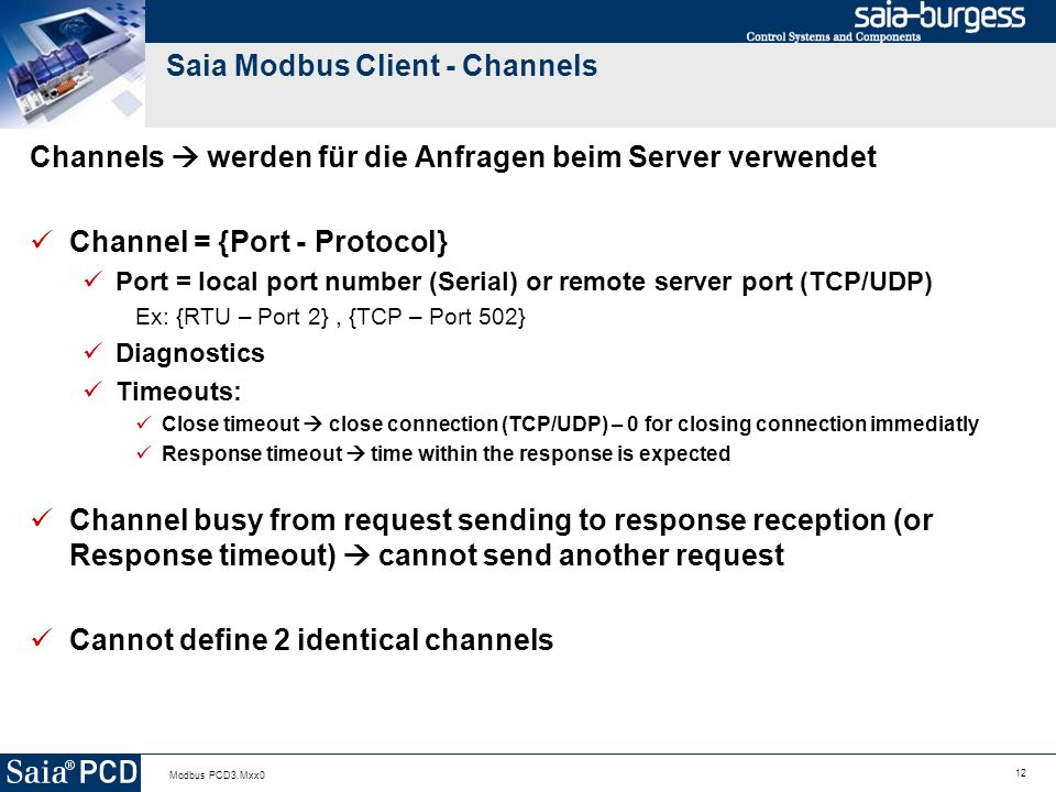 Saia Modbus Client - Channels