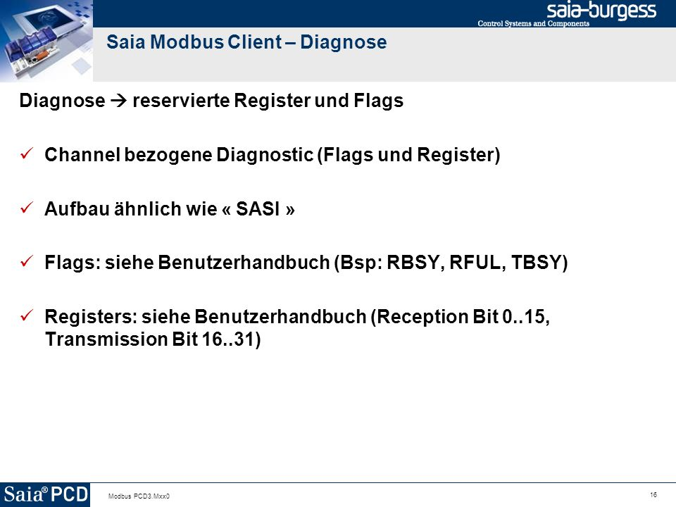 Saia Modbus Client – Diagnose