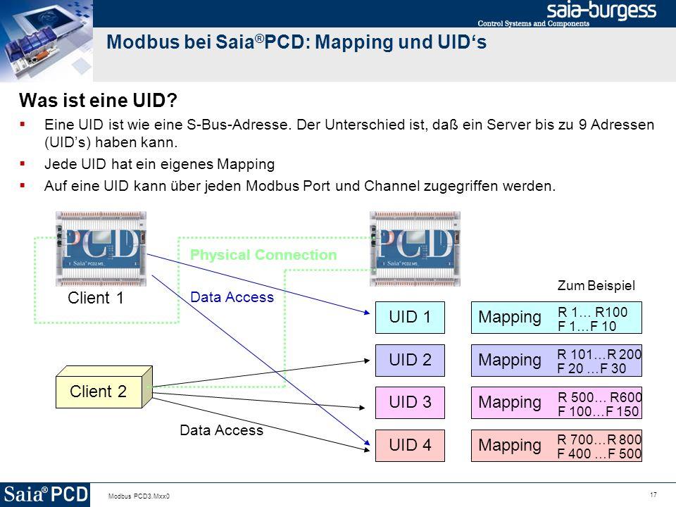 Modbus bei Saia®PCD: Mapping und UID's