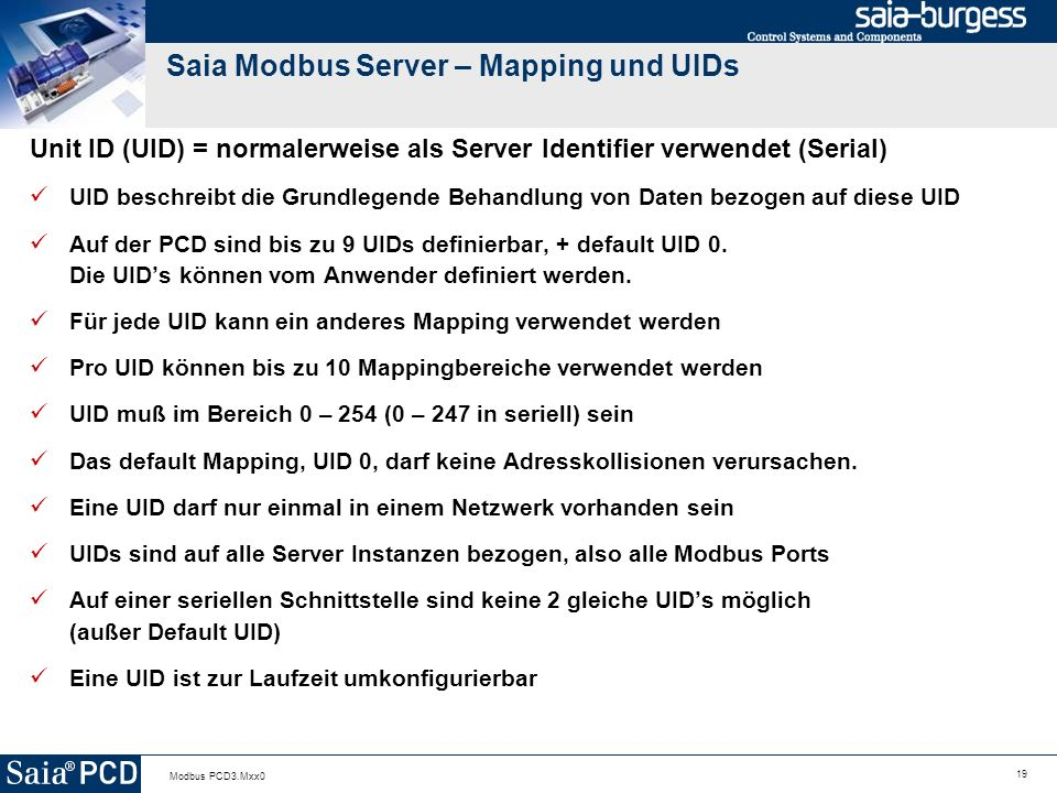 Saia Modbus Server – Mapping und UIDs