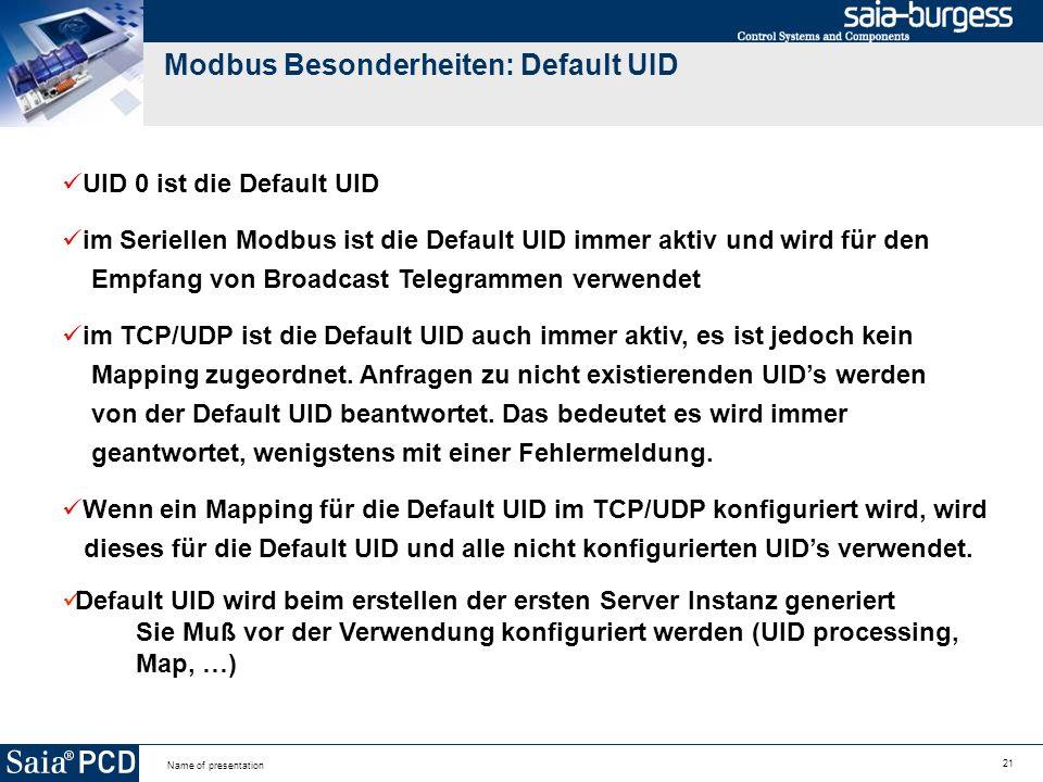 Modbus Besonderheiten: Default UID