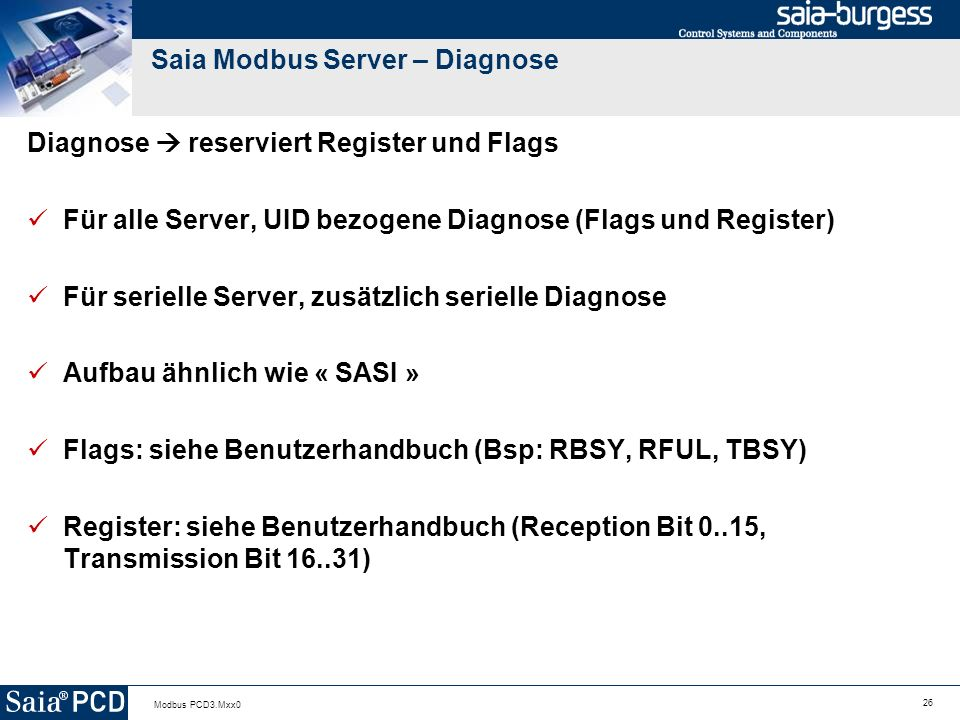 Saia Modbus Server – Diagnose