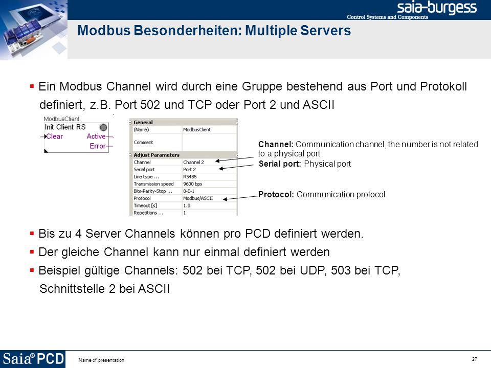 Modbus Besonderheiten: Multiple Servers