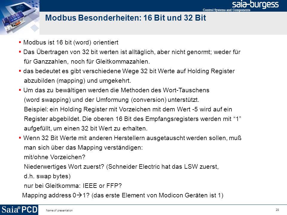 Modbus Besonderheiten: 16 Bit und 32 Bit