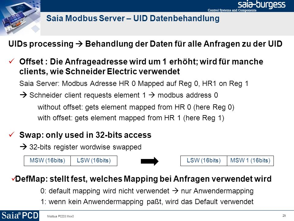 Saia Modbus Server – UID Datenbehandlung