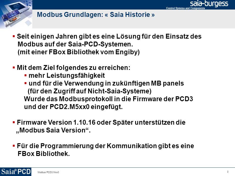 Modbus Grundlagen: « Saia Historie »