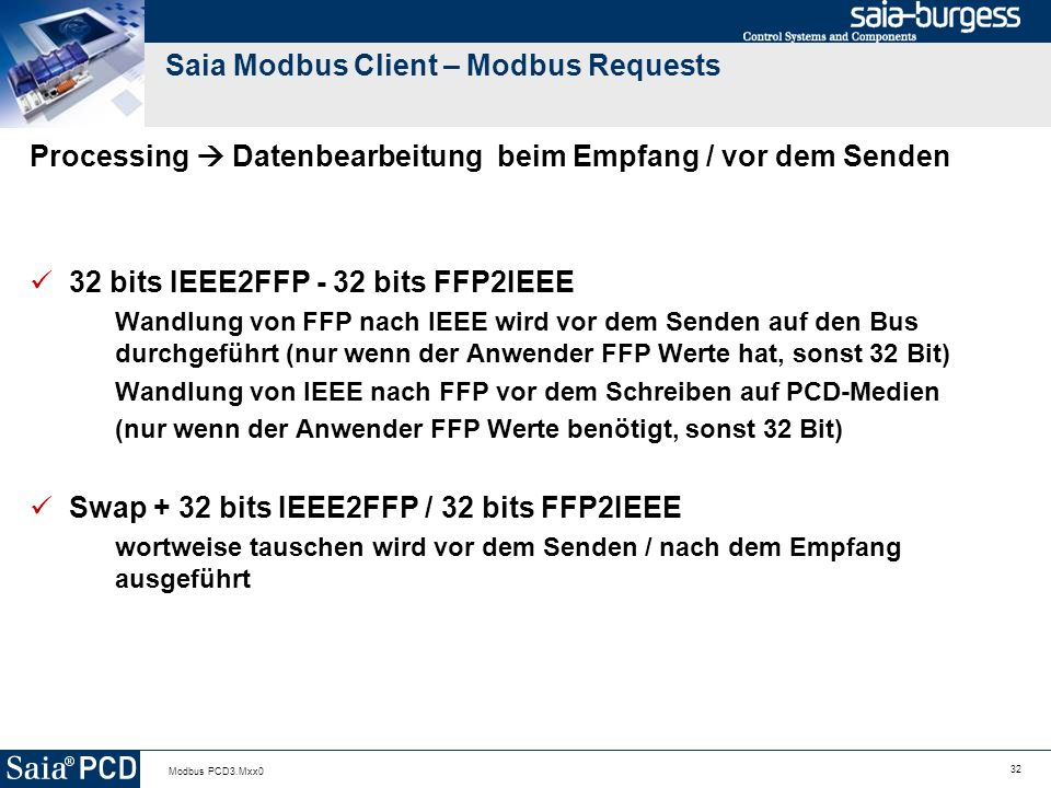 Saia Modbus Client – Modbus Requests