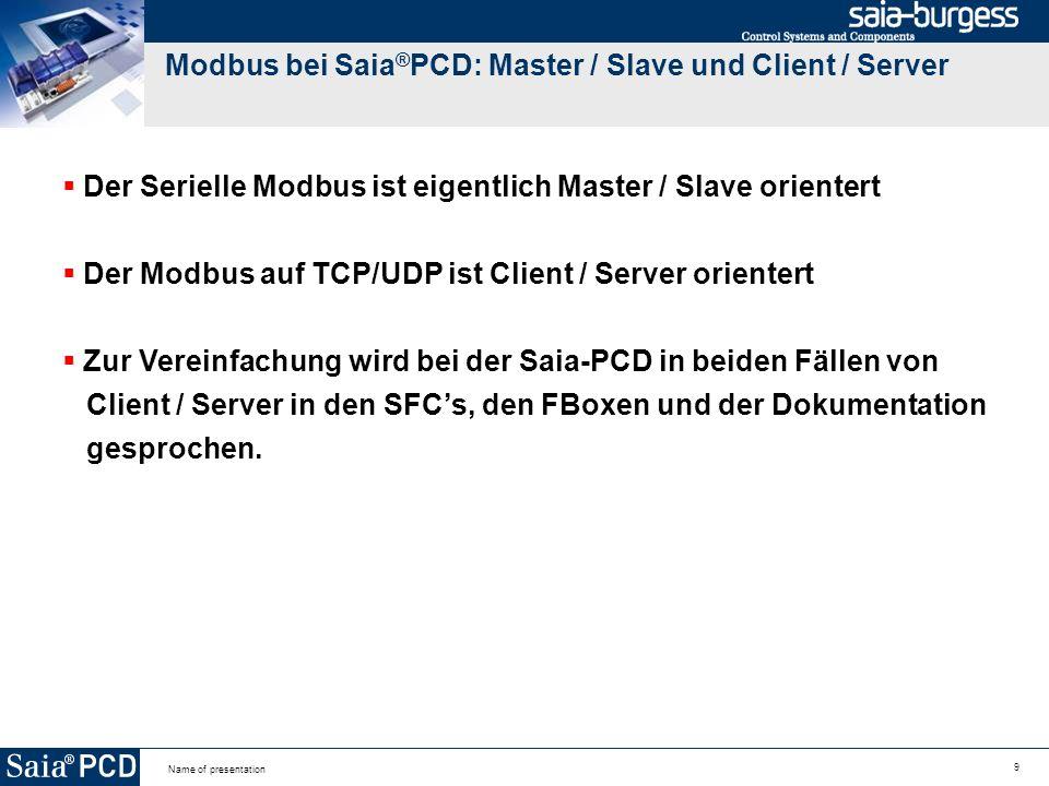 Modbus bei Saia®PCD: Master / Slave und Client / Server