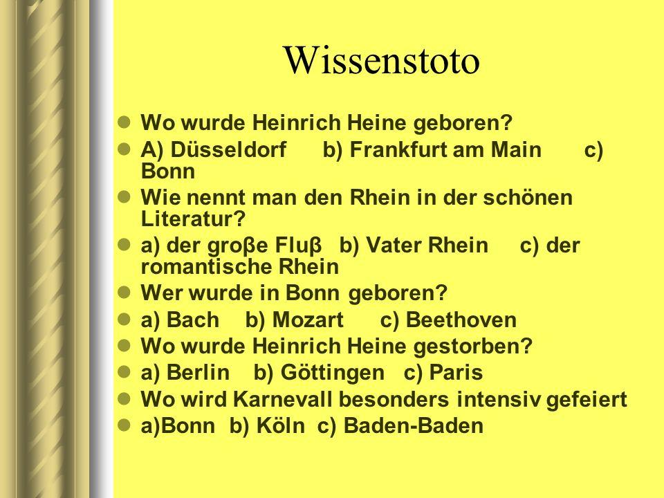 Wissenstoto Wo wurde Heinrich Heine geboren