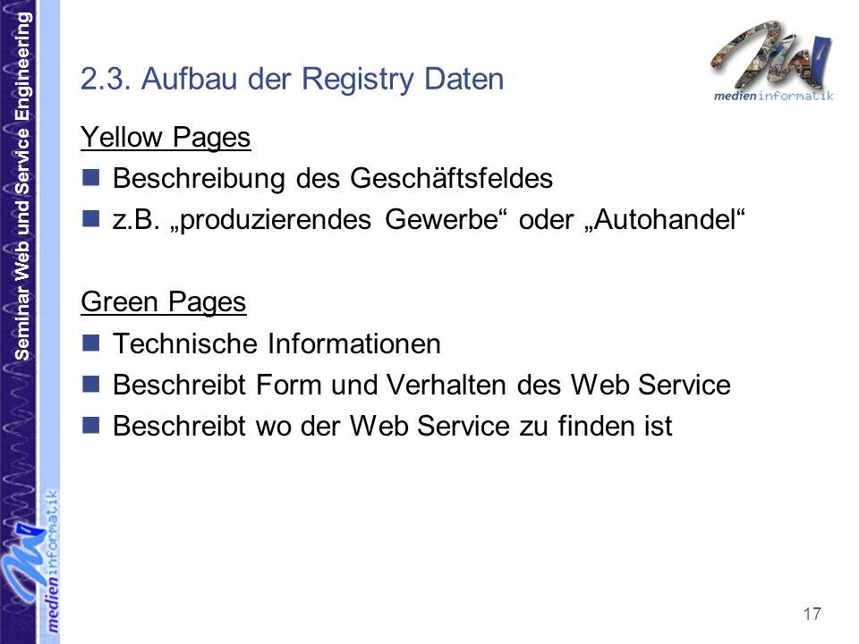 2.3. Aufbau der Registry Daten