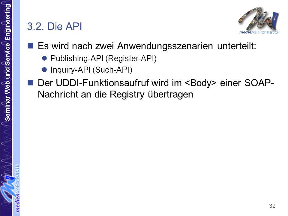 3.2. Die API Es wird nach zwei Anwendungsszenarien unterteilt: