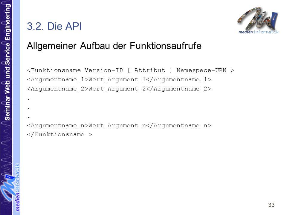 3.2. Die API Allgemeiner Aufbau der Funktionsaufrufe