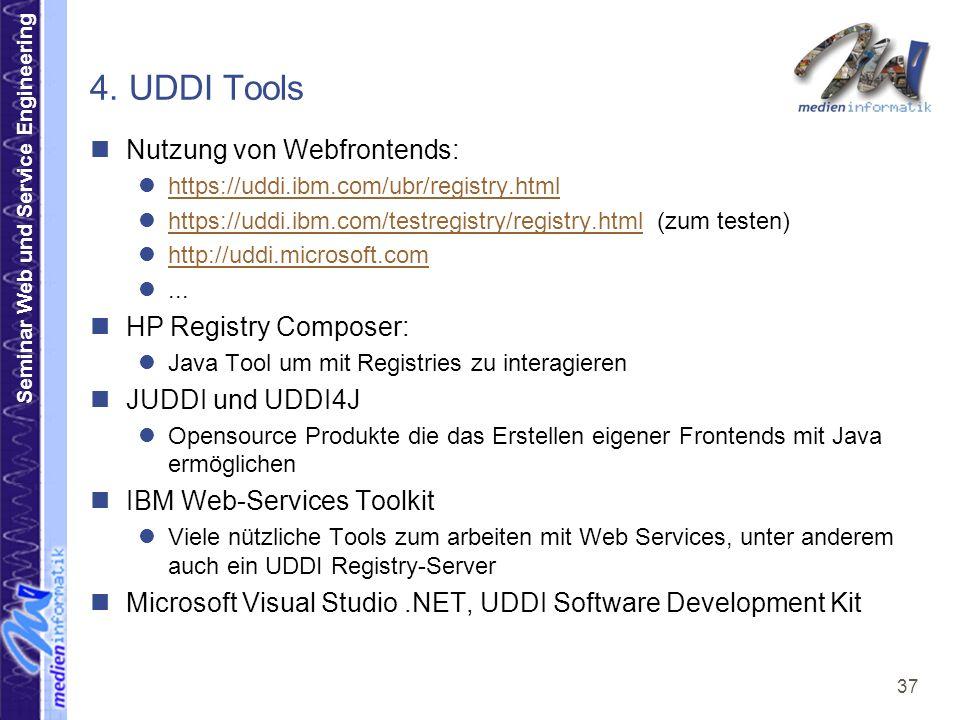 4. UDDI Tools Nutzung von Webfrontends: HP Registry Composer: