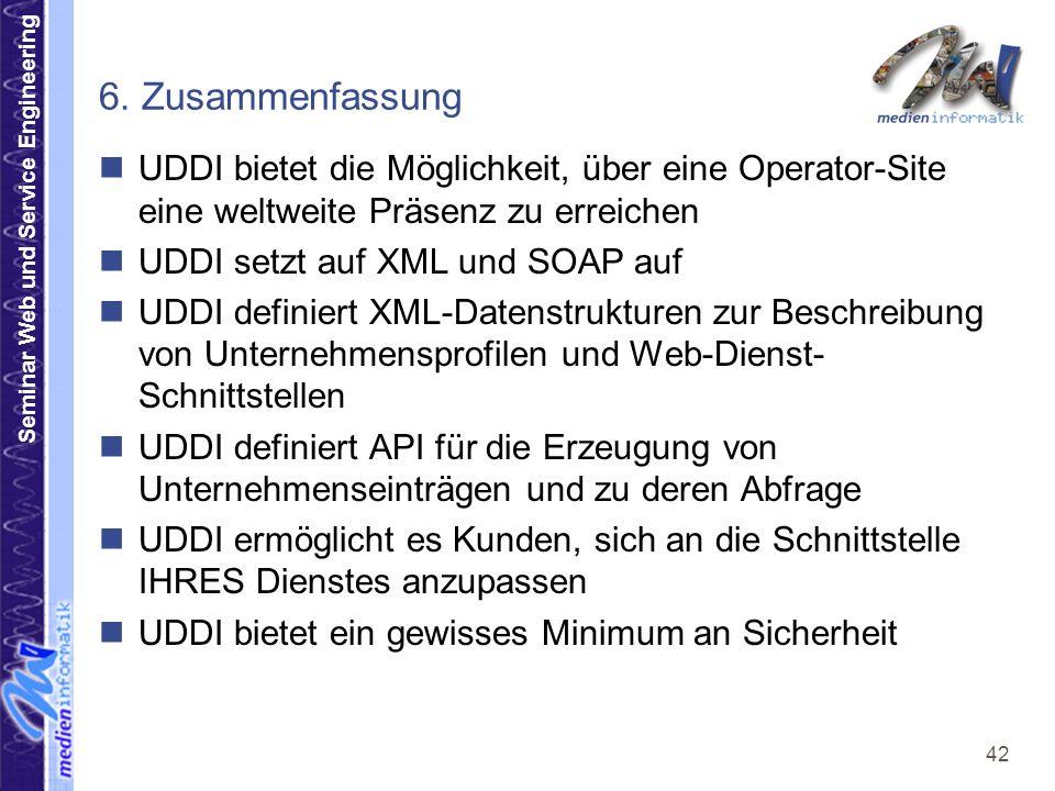 6. Zusammenfassung UDDI bietet die Möglichkeit, über eine Operator-Site eine weltweite Präsenz zu erreichen.