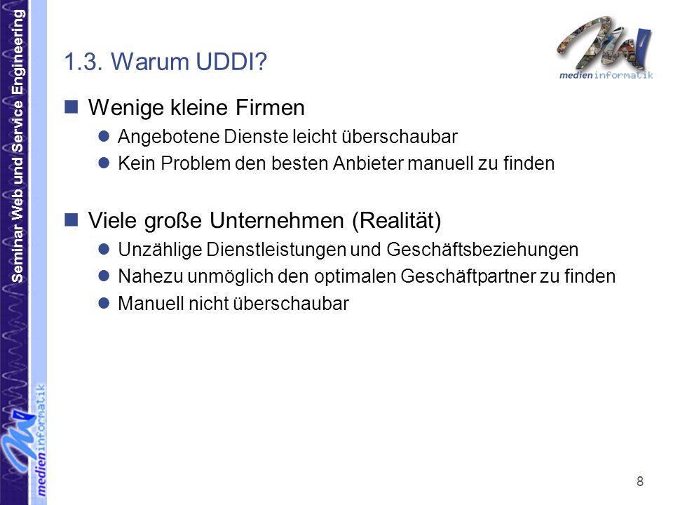 1.3. Warum UDDI Wenige kleine Firmen