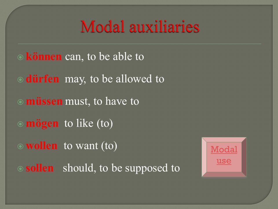Modal auxiliaries können can, to be able to
