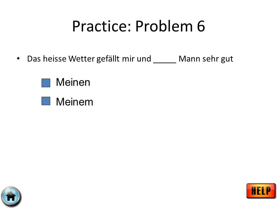 Practice: Problem 6 Meinen Meinem