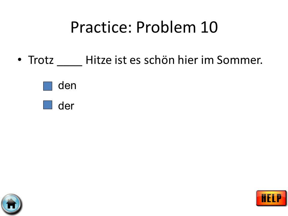Practice: Problem 10 Trotz ____ Hitze ist es schön hier im Sommer. den