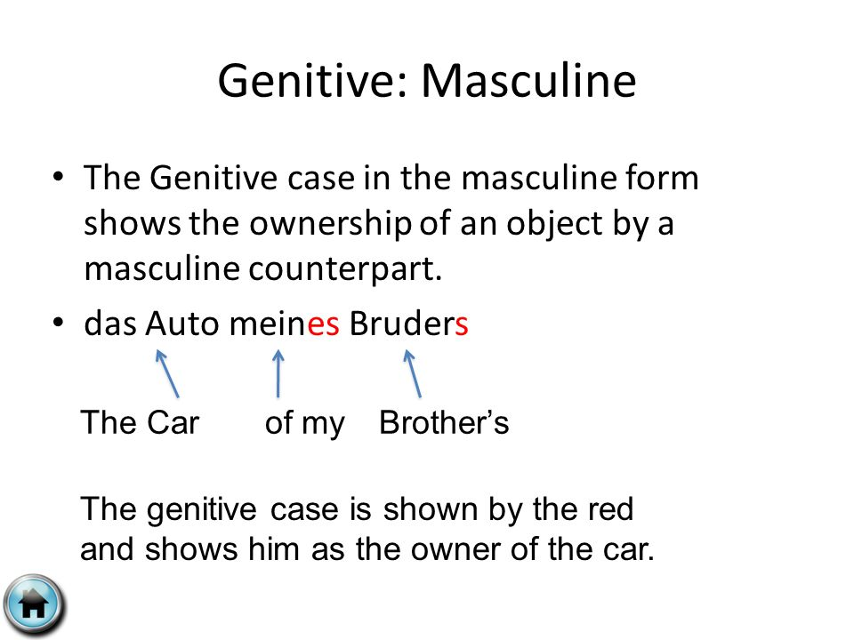 Genitive: Masculine The Genitive case in the masculine form shows the ownership of an object by a masculine counterpart.