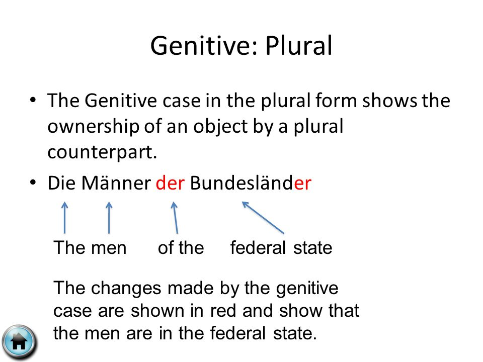 Genitive: Plural The Genitive case in the plural form shows the ownership of an object by a plural counterpart.