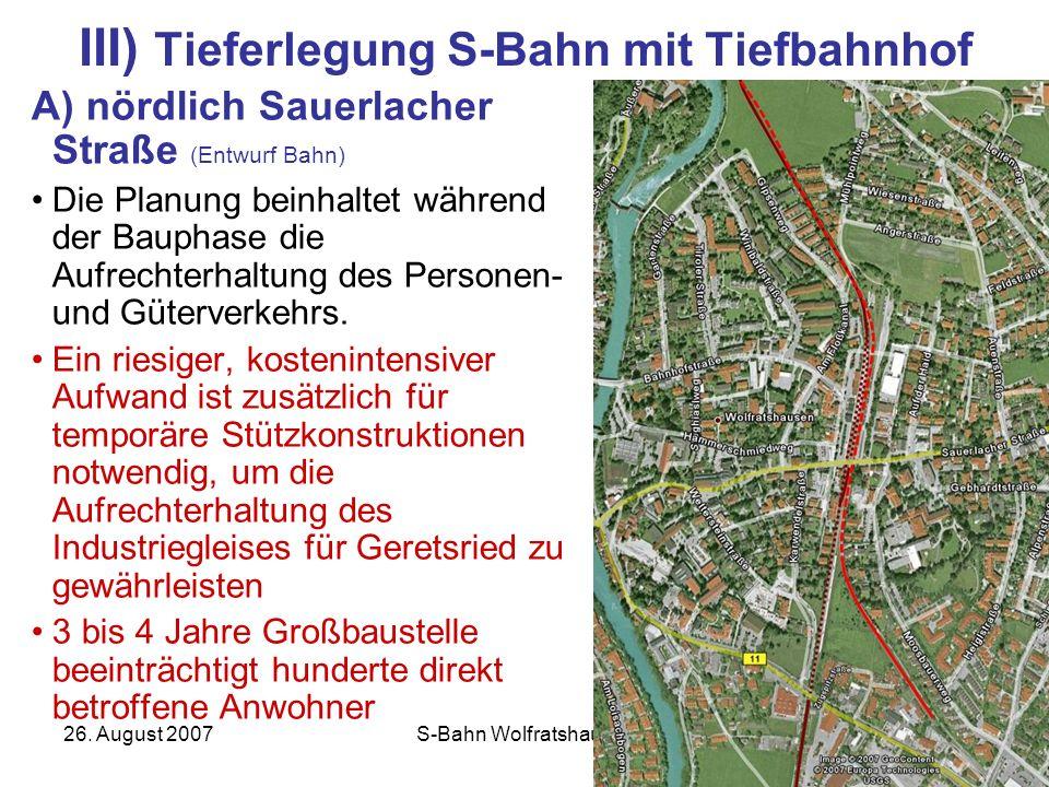 III) Tieferlegung S-Bahn mit Tiefbahnhof
