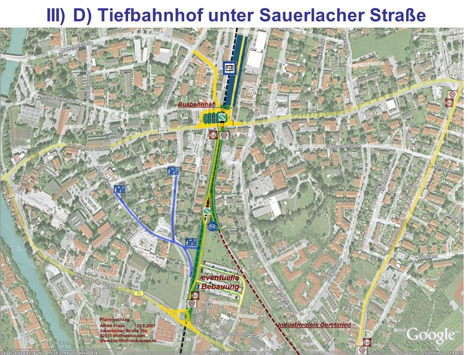 III) D) Tiefbahnhof unter Sauerlacher Straße