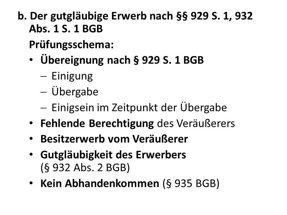 b. Der gutgläubige Erwerb nach §§ 929 S. 1, 932 Abs. 1 S. 1 BGB