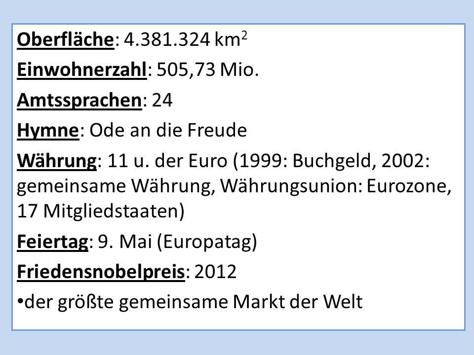 Oberfläche: 4.381.324 km2 Einwohnerzahl: 505,73 Mio. Amtssprachen: 24. Hymne: Ode an die Freude.