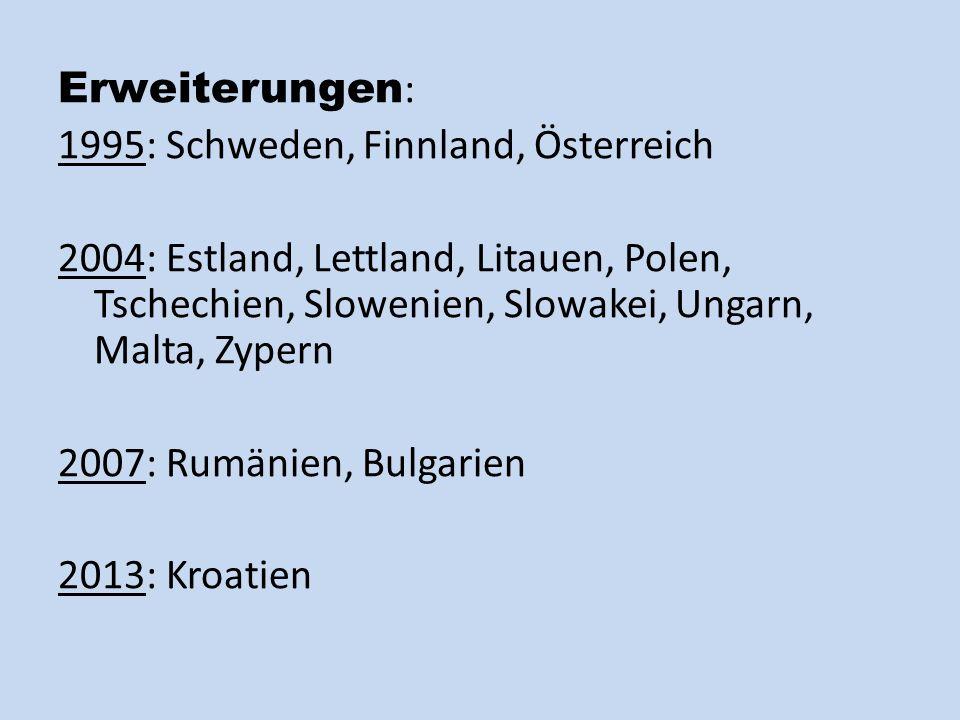 Erweiterungen: 1995: Schweden, Finnland, Österreich. 2004: Estland, Lettland, Litauen, Polen, Tschechien, Slowenien, Slowakei, Ungarn, Malta, Zypern.