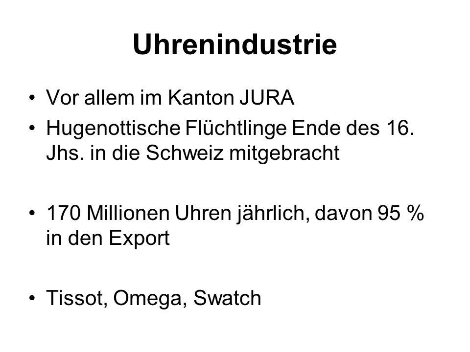 Uhrenindustrie Vor allem im Kanton JURA