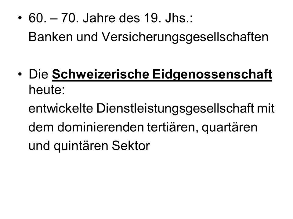 60. – 70. Jahre des 19. Jhs.: Banken und Versicherungsgesellschaften. Die Schweizerische Eidgenossenschaft heute: