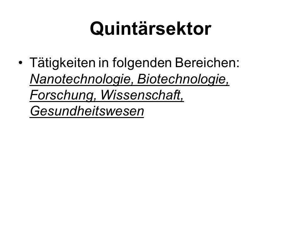 Quintärsektor Tätigkeiten in folgenden Bereichen: Nanotechnologie, Biotechnologie, Forschung, Wissenschaft, Gesundheitswesen.