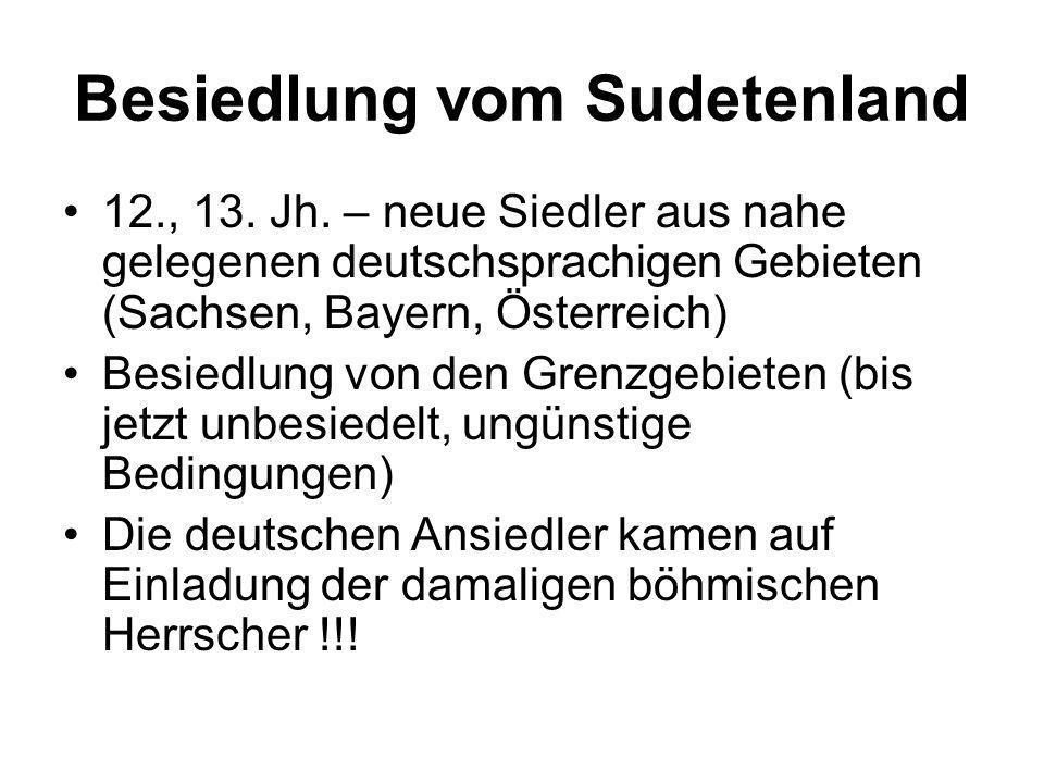 Besiedlung vom Sudetenland