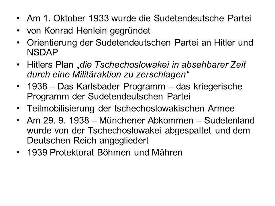 Am 1. Oktober 1933 wurde die Sudetendeutsche Partei