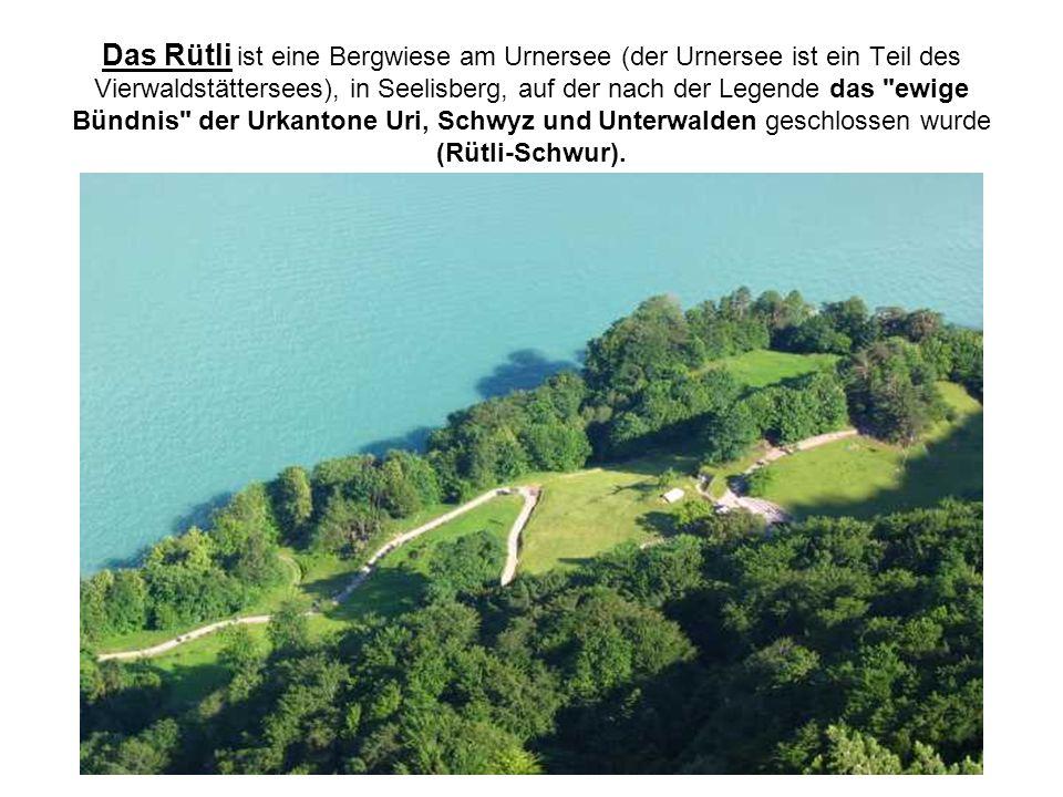 Das Rütli ist eine Bergwiese am Urnersee (der Urnersee ist ein Teil des Vierwaldstättersees), in Seelisberg, auf der nach der Legende das ewige Bündnis der Urkantone Uri, Schwyz und Unterwalden geschlossen wurde (Rütli-Schwur).