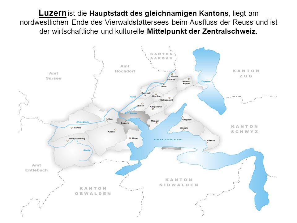 Luzern ist die Hauptstadt des gleichnamigen Kantons, liegt am nordwestlichen Ende des Vierwaldstättersees beim Ausfluss der Reuss und ist der wirtschaftliche und kulturelle Mittelpunkt der Zentralschweiz.