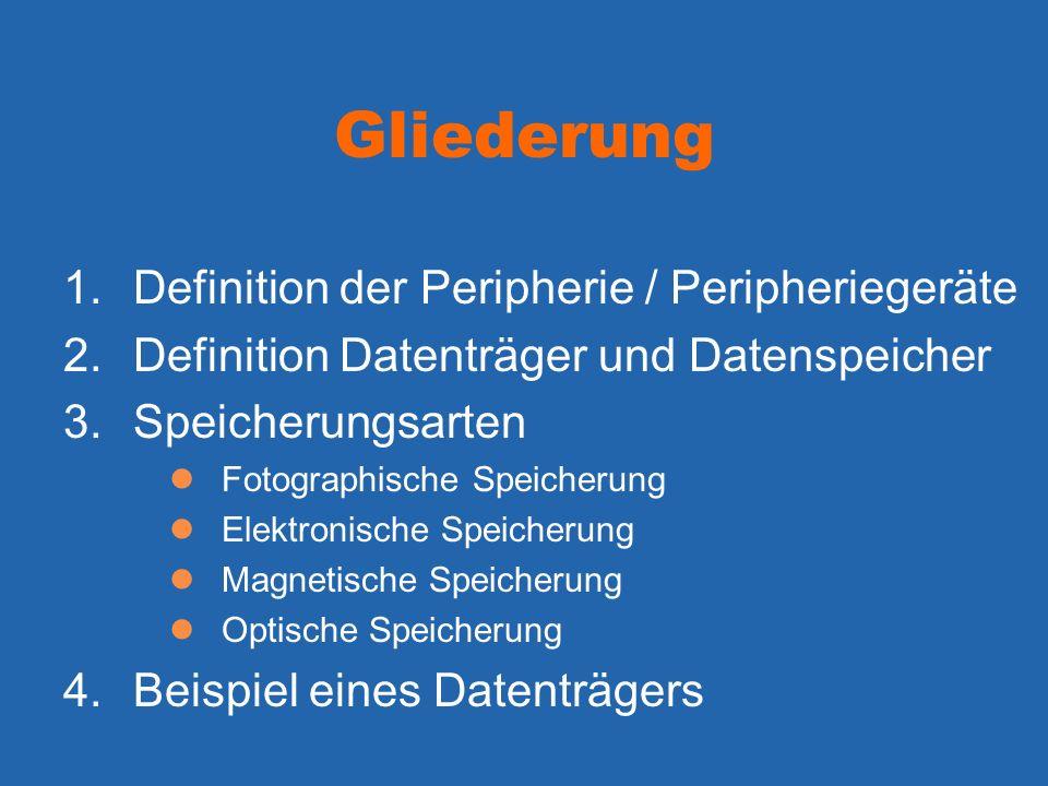 Gliederung Definition der Peripherie / Peripheriegeräte