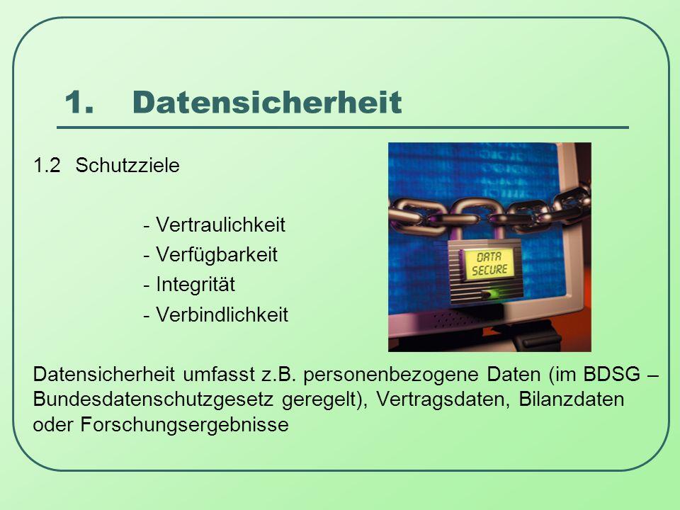 1. Datensicherheit 1.2 Schutzziele - Vertraulichkeit - Verfügbarkeit
