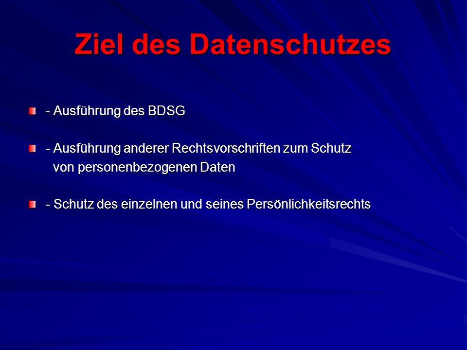 Ziel des Datenschutzes