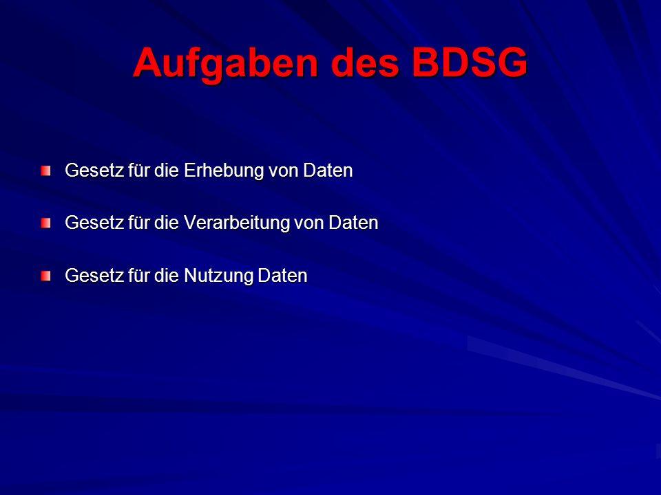 Aufgaben des BDSG Gesetz für die Erhebung von Daten